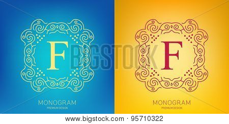 Abstract creative concept vector logo of retro monogram isolated on background. Art illustration tem