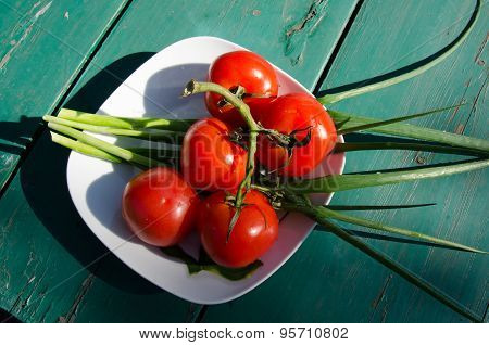 Fresh Tomatoes And Spring Onion