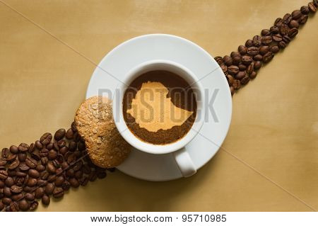 Still Life - Coffee With Map Of Ethiopia