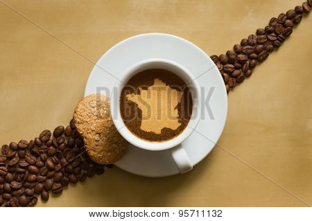Still Life - Coffee With Map Of France