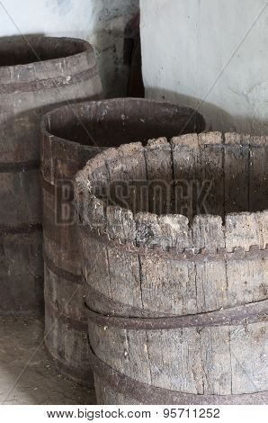 Old Decayed Wooden Barrels