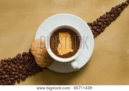 Still Life - Coffee With Map Of Ghana