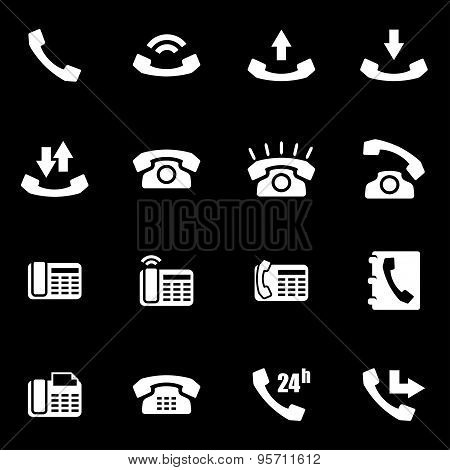 Vector White Telephone Icon Set