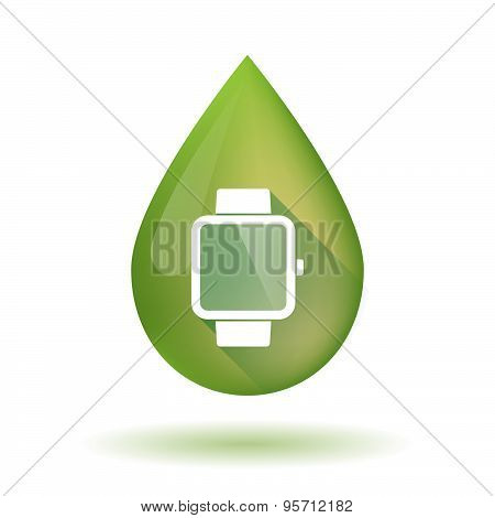 Olive Oil Drop Icon With A Smart Watch