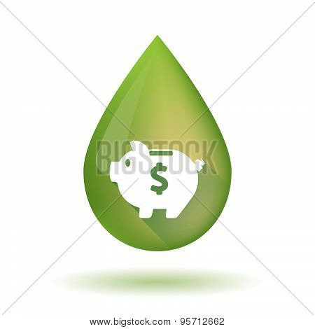 Olive Oil Drop Icon With A Piggy Bank