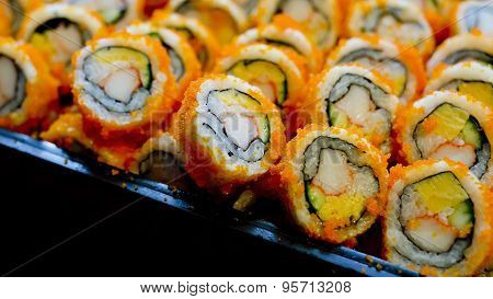 California Roll Maki Sushi On A Glass Plate.