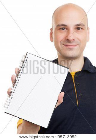 Bald Man Showing Blank Notepad