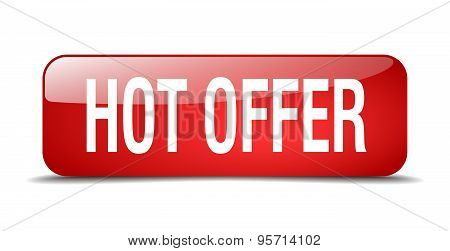 Hot Offer Red Square 3D Realistic Isolated Web Button