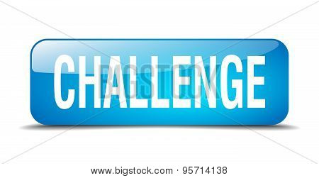 Challenge Blue Square 3D Realistic Isolated Web Button