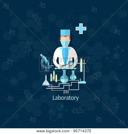 Medical Research, Laboratory, Doctor, Apothecary, Pharmacist, Medication, Pill, Microscope, Vector