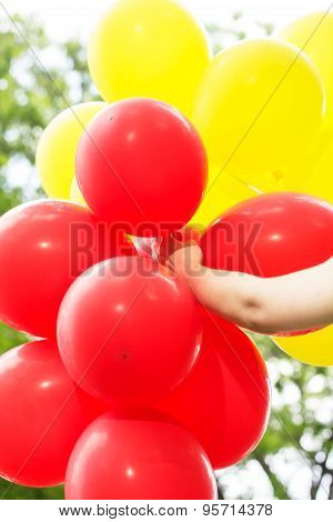 Carefree , Freedom Woman With Red And Yellow Balloons