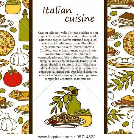 Vector italian cuisine concept with cute cartoon hand drawn objects and seamless background: pizza,