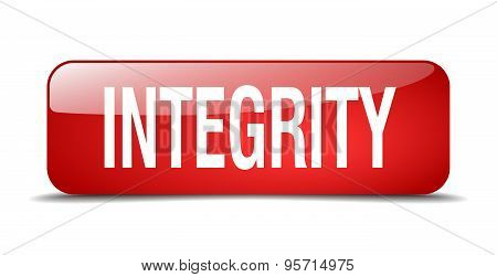 Integrity Red Square 3D Realistic Isolated Web Button