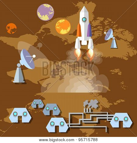 Colonization Of Mars: Rocket, Spaceship, Spaceport, Planets, Orbit,future, Study, Universe, Vector