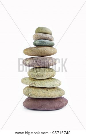 Balanced Zen Stones Isolated On White Background