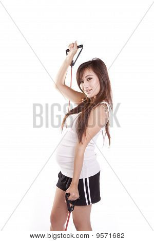 Pregnant Woman With Bands Exercising