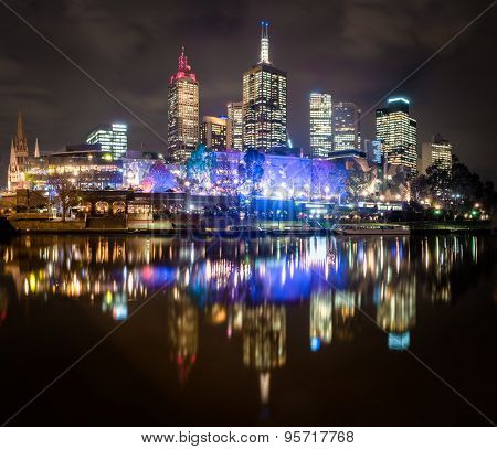 Melbourne Reflected In The Yarra River