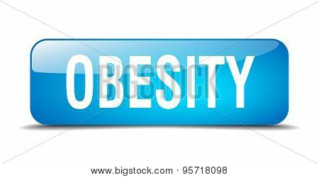 Obesity Blue Square 3D Realistic Isolated Web Button