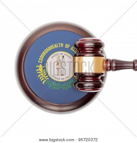 Wooden judge gavel with USA state flag on sound block - Kentucky
