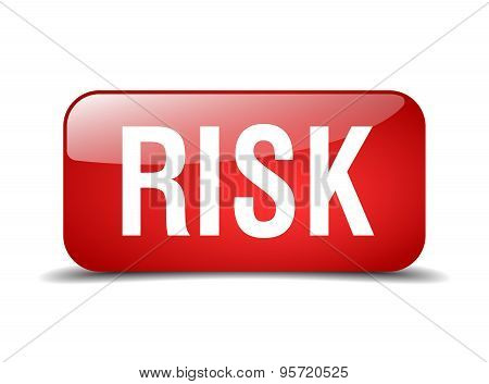Risk Red Square 3D Realistic Isolated Web Button