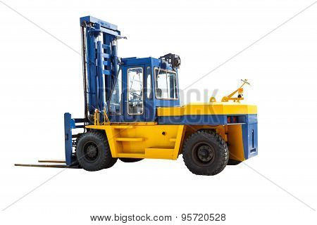 Modern Forklift Truck On White