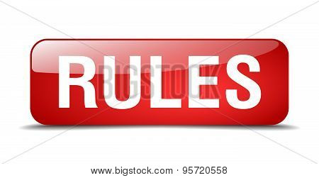 Rules Red Square 3D Realistic Isolated Web Button