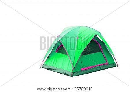 Isolated Green Dome Tent