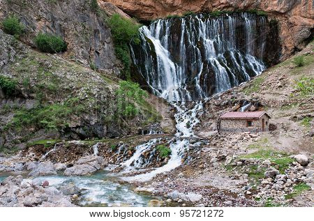 Huge beautiful waterfall Kapuzbashi in Turkey