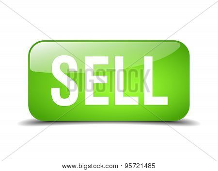 Sell Green Square 3D Realistic Isolated Web Button