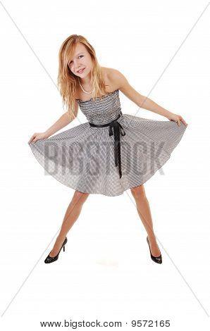Girl In Black White Dress.