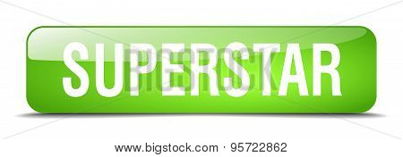 Superstar Green Square 3D Realistic Isolated Web Button