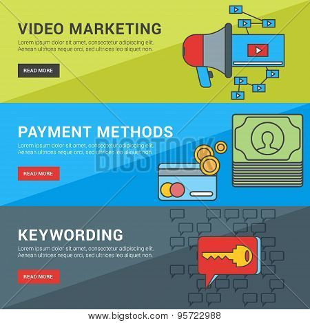 Flat Design Concept. Set Of Vector Illustrations For Web Banners. Video Marketing, Payment Methods,