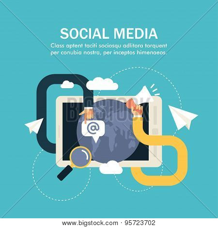 Flat Vector Business Illustration. Social Media. Human Hands With Computer Screen