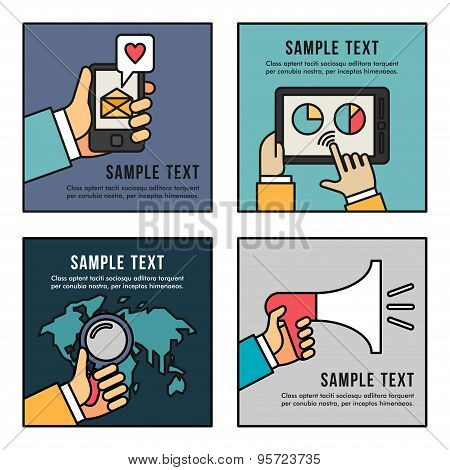 Set Of Flat Vector Business Illustrations. Promotion, Searching, Analytics, Sms