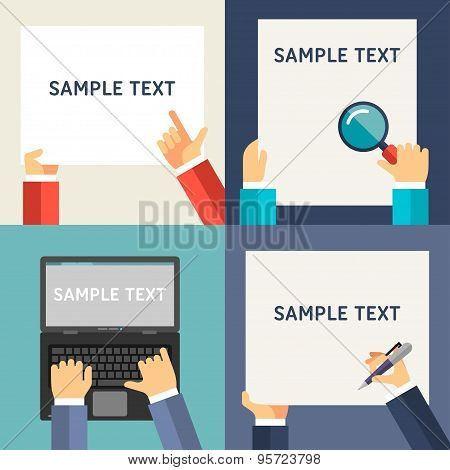 Set Of Flat Design Vector Illustrations. Human Hands With Place For Text