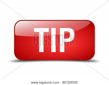 Tip Red Square 3D Realistic Isolated Web Button