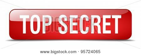 Top Secret Red Square 3D Realistic Isolated Web Button