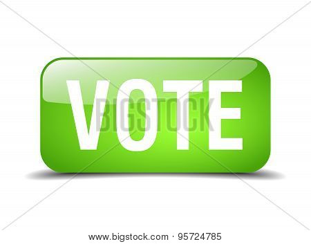 Vote Green Square 3D Realistic Isolated Web Button