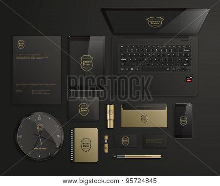 Realistic Corporate Identity Business Set Design. Vector Illustration