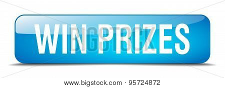 Win Prizes Blue Square 3D Realistic Isolated Web Button
