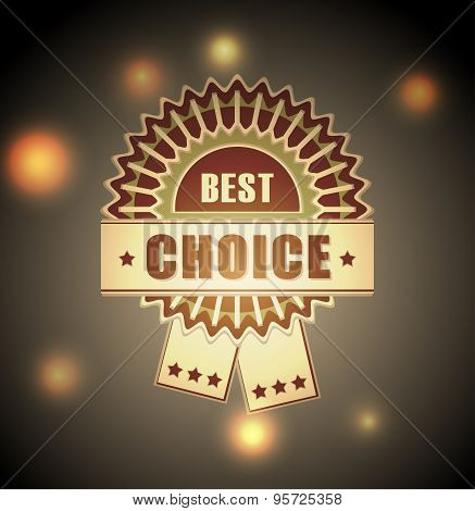 Badge of  best choice  on blur town light background
