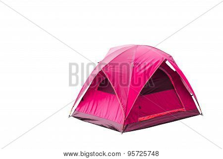 Isolated Red Dome Tent