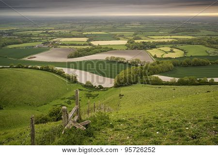 Morning Over Rolling English Countryside Landscape In Spring