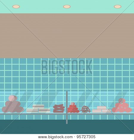 Sausage showcase flat icon. Supermarket glass case design template.  Department store  view. Part of