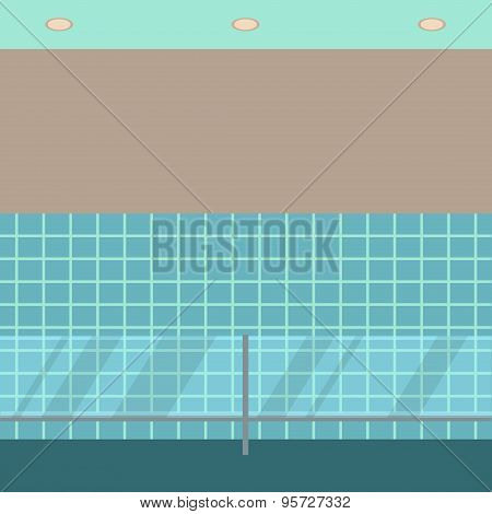 Empty showcase flat icon. Supermarket glass case design template.  Department store interior view. S