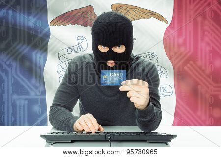 Hacker Holding Credit Card And Usa State Flag On Background - Iowa
