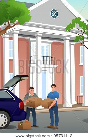 Father Helping His Teenage Son Moving To A New Campus