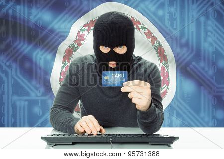 Hacker Holding Credit Card And Usa State Flag On Background - Virginia