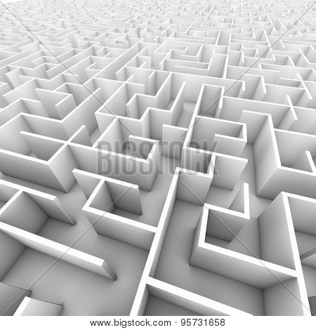 Large Bright White Walled Maze