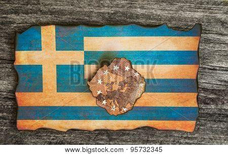 Greek flag euro grunge wood background